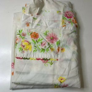 vintage XL twin flat size sheet white with pink or